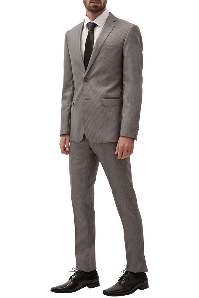light grey houndstooth suit